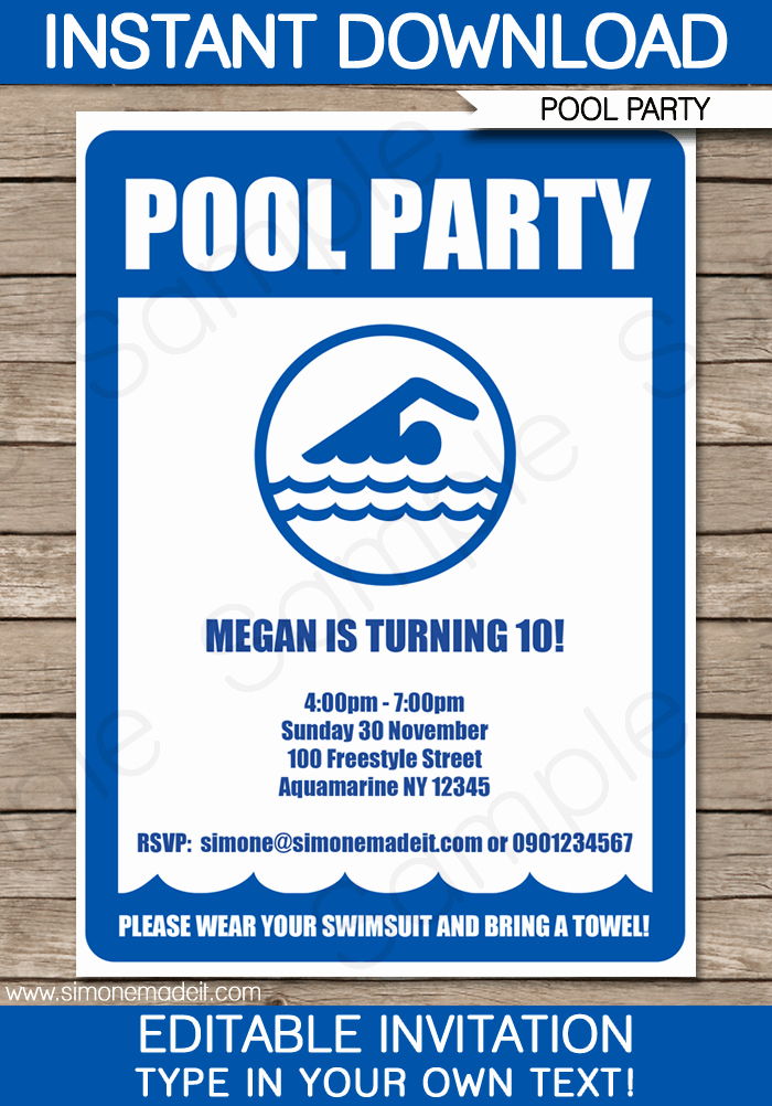 Pool Party Invitations Birthday Party