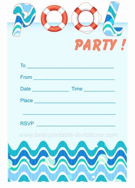 Pool Party Invites Free Printable Kids Party Invites
