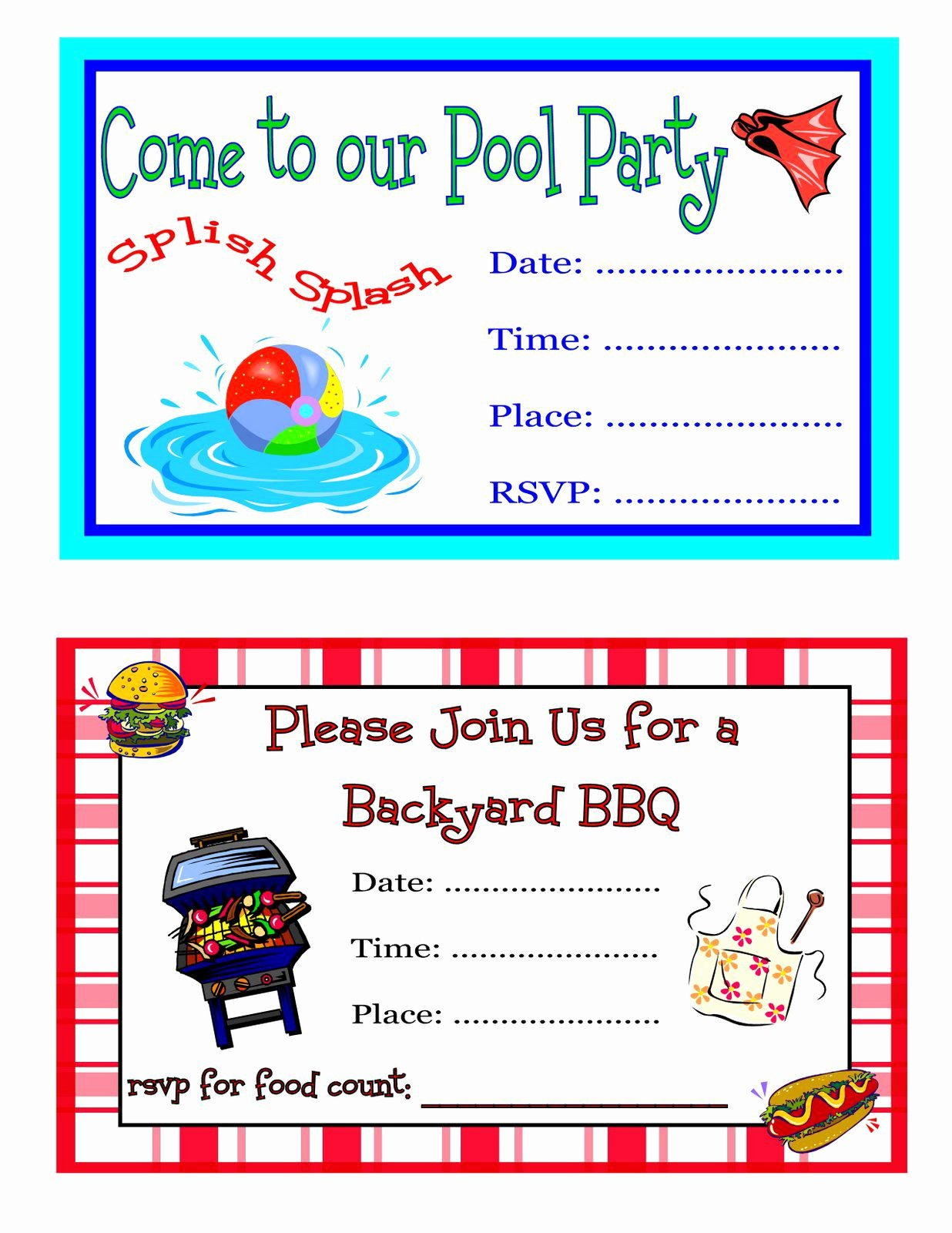 Pool Party Invites Templates