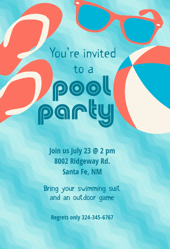 Pool Party Stuff Free Printable Summer Party Invitation