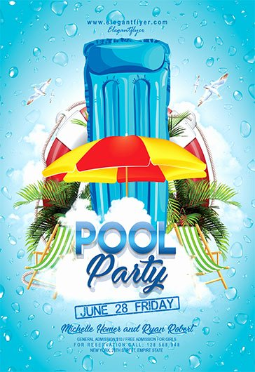 pool party v04 flyer psd template cover
