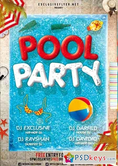 Pool Party V12 Premium Flyer Template Cover