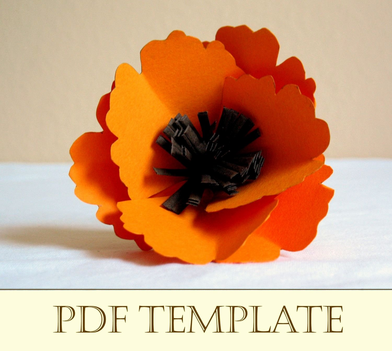 Poppy Paper Flower Printable Pdf Instructions and