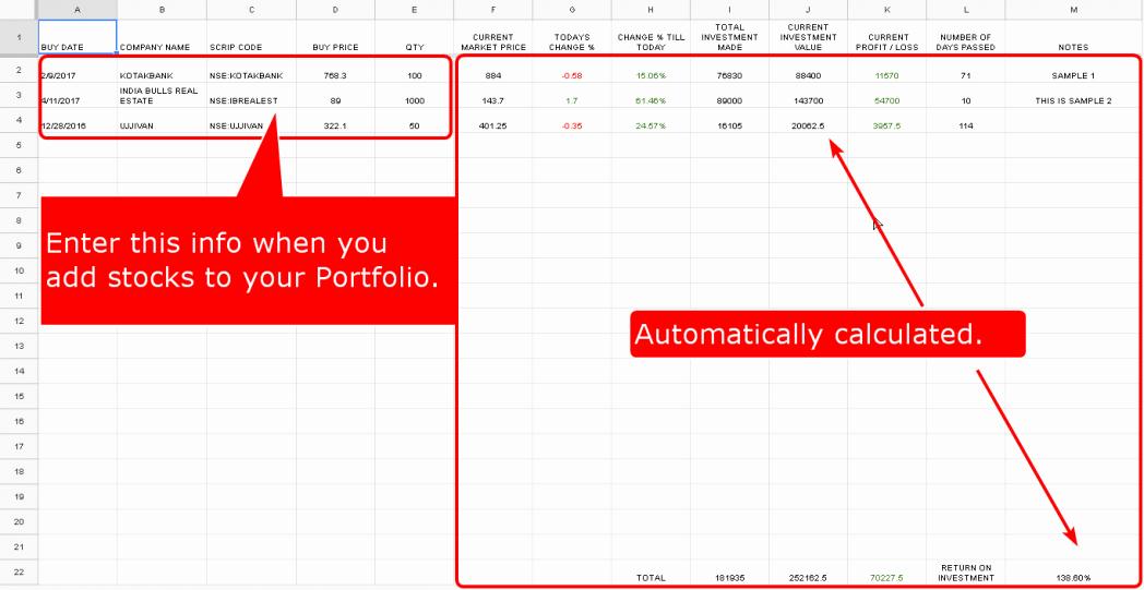 Portfolio Tracking Spreadsheet for Traders Stocks Fire