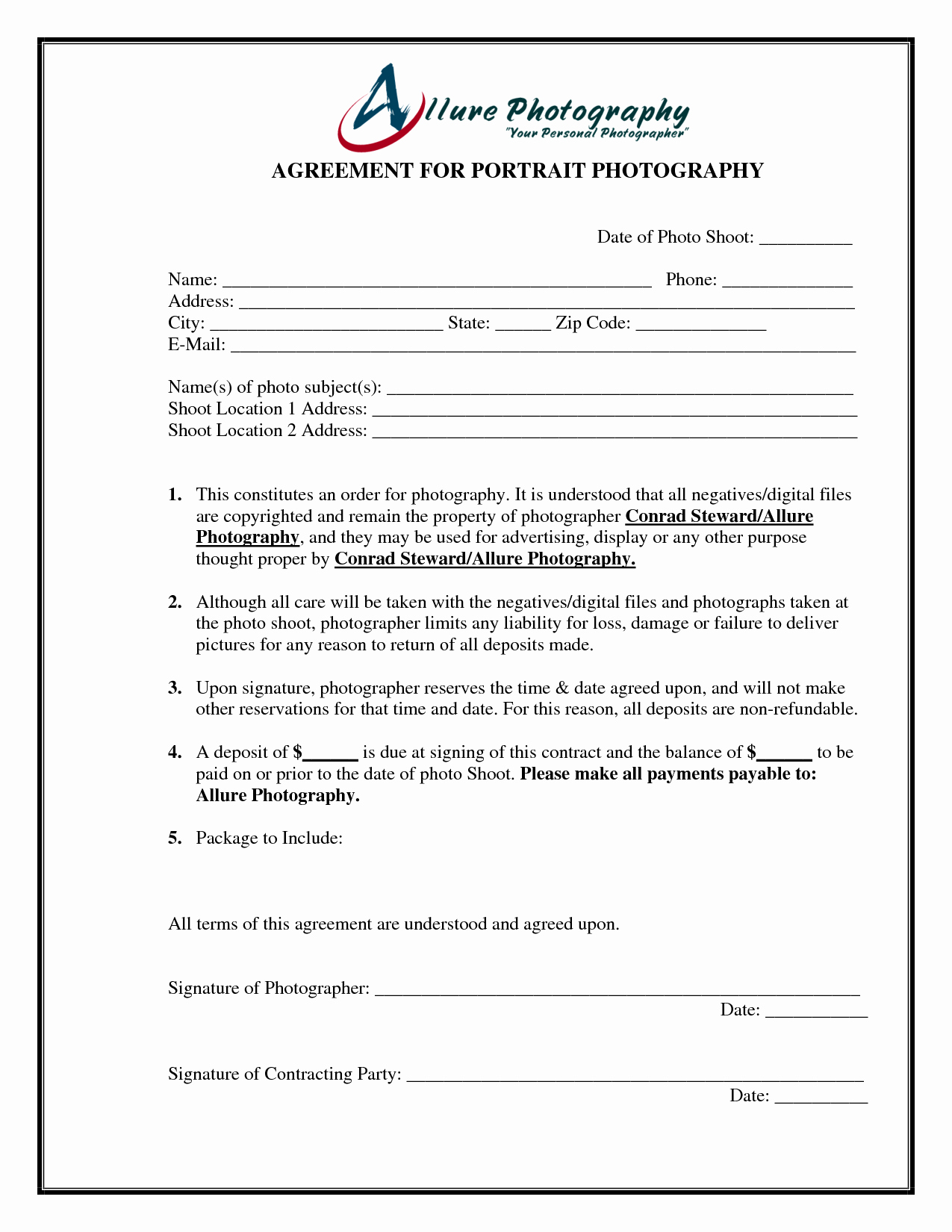 Portrait Graphy Contract Template Free Printable
