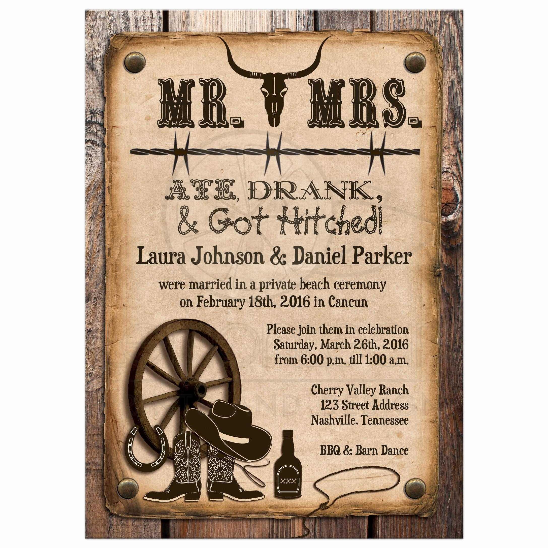Post Wedding Invitation Rustic Mr & Mrs