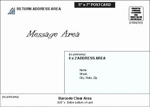 Postcard Mailing Template Eskills Co Postage 5x7 Postcard