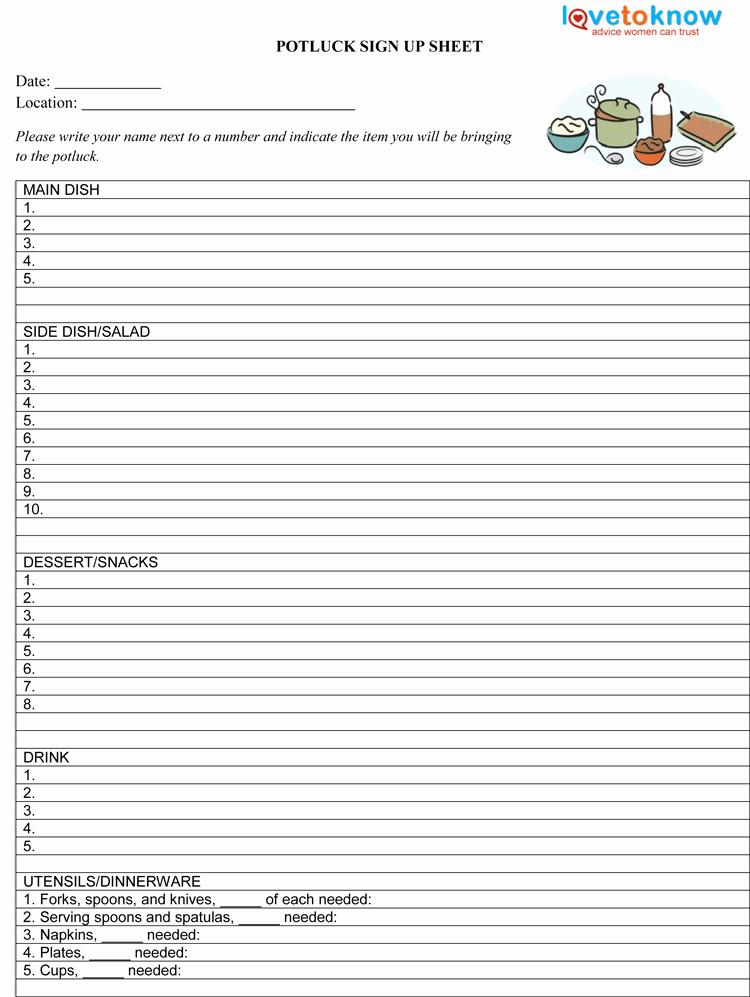 Potluck Sign Up Sheet Template Pdf 750×997