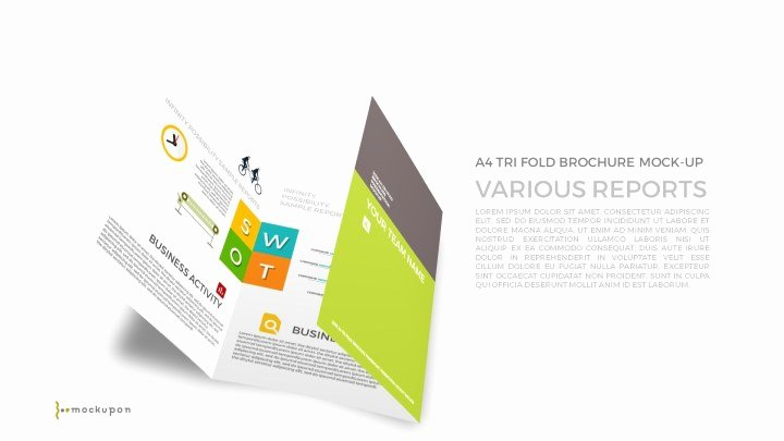 Powerpoint A4 Tri Fold Brochure Mockup Template Premium