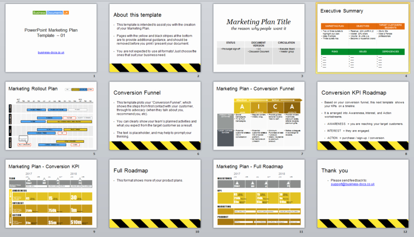 Powerpoint Marketing Plan Template & Conversion Funnel