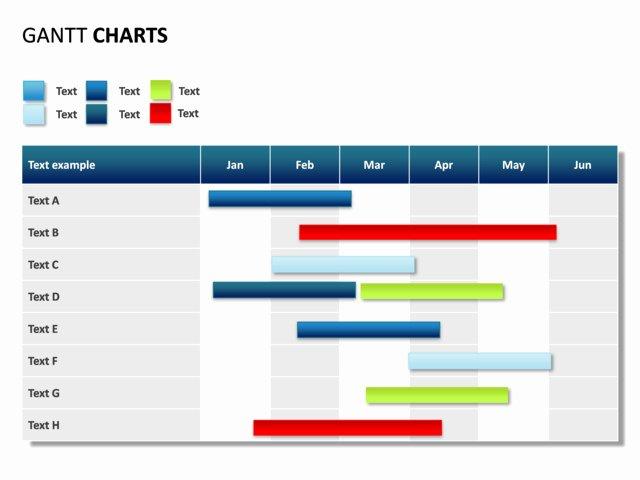 Powerpoint Slide Gantt Chart 6 Months 8 Rows P31