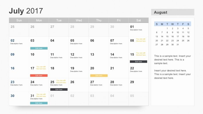 Powerpoint Template Calendar December 2017