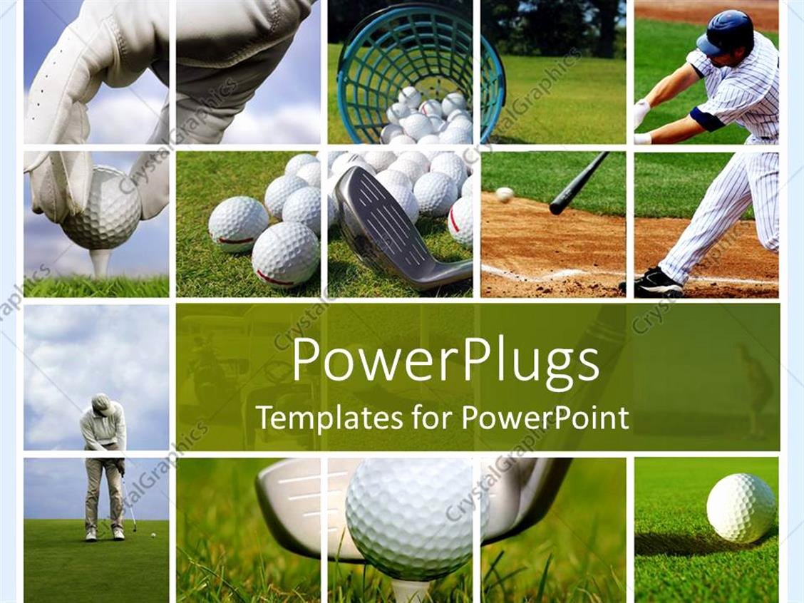 Powerpoint Template Golf and Baseball Collage with Balls