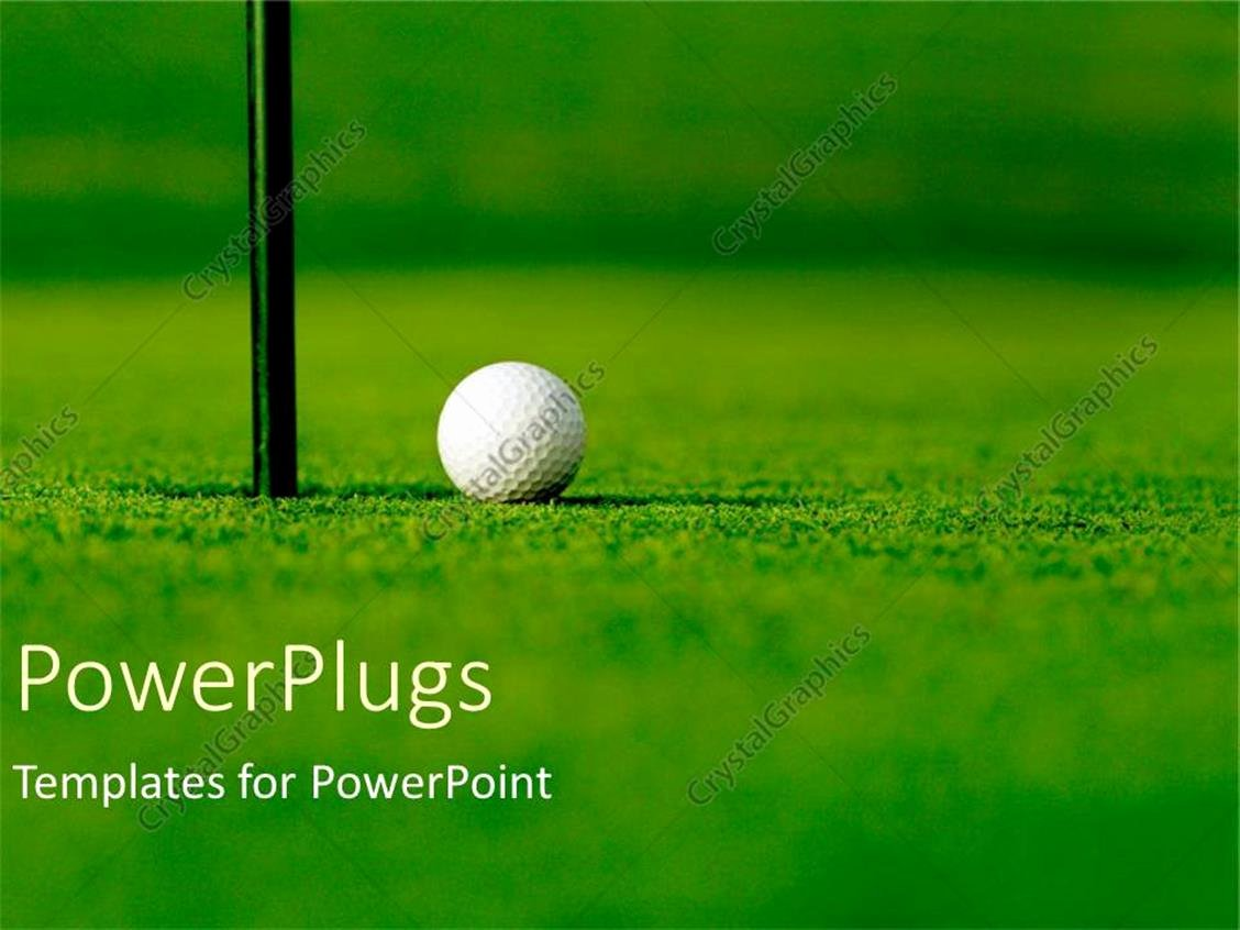 Powerpoint Template Golf Course with White Golf Ball Next