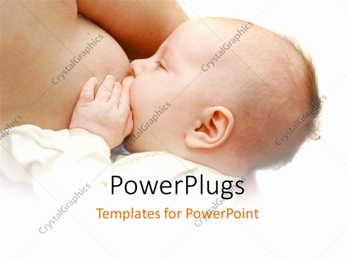 Powerpoint Template Little Baby Feeding From Mother S