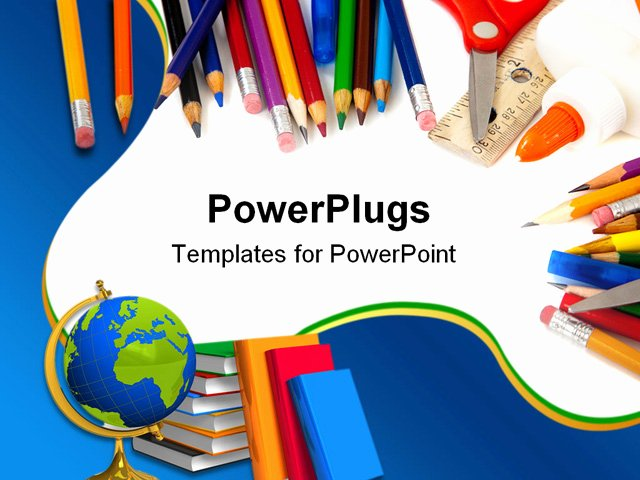 Powerpoint Template School Supplies with Pencils Globe