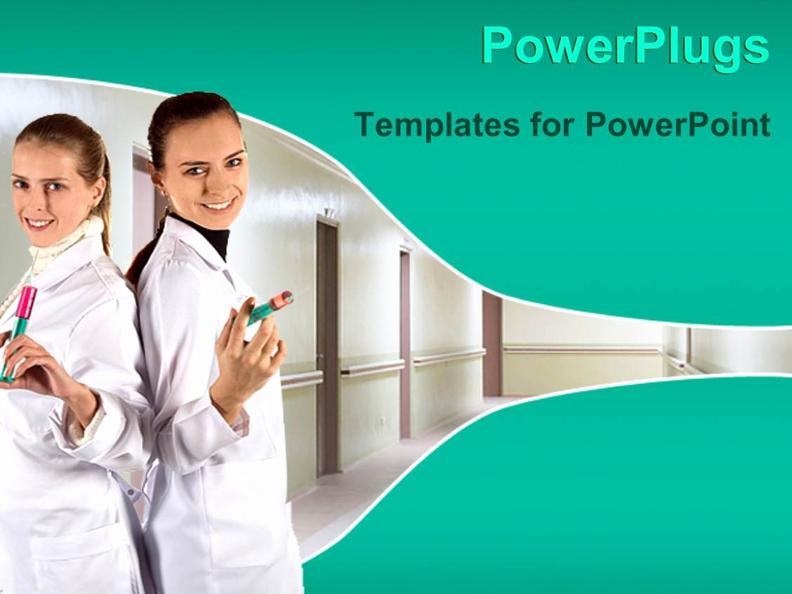 Powerpoint Template Two Pretty Nurses Holding Injections