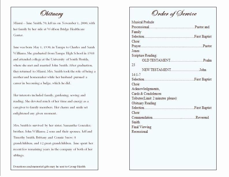 Prayer Single Fold Memorial Program Funeral Pamphlets