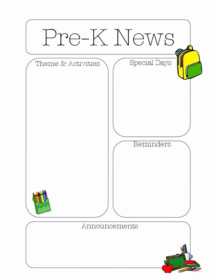 Pre K Newsletter Template