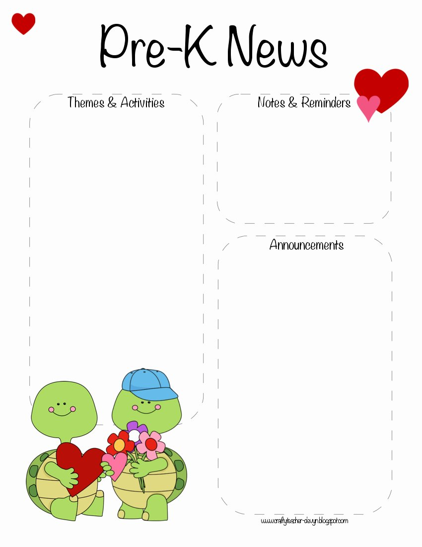 Pre K Valentine S Day February Newsletter Template