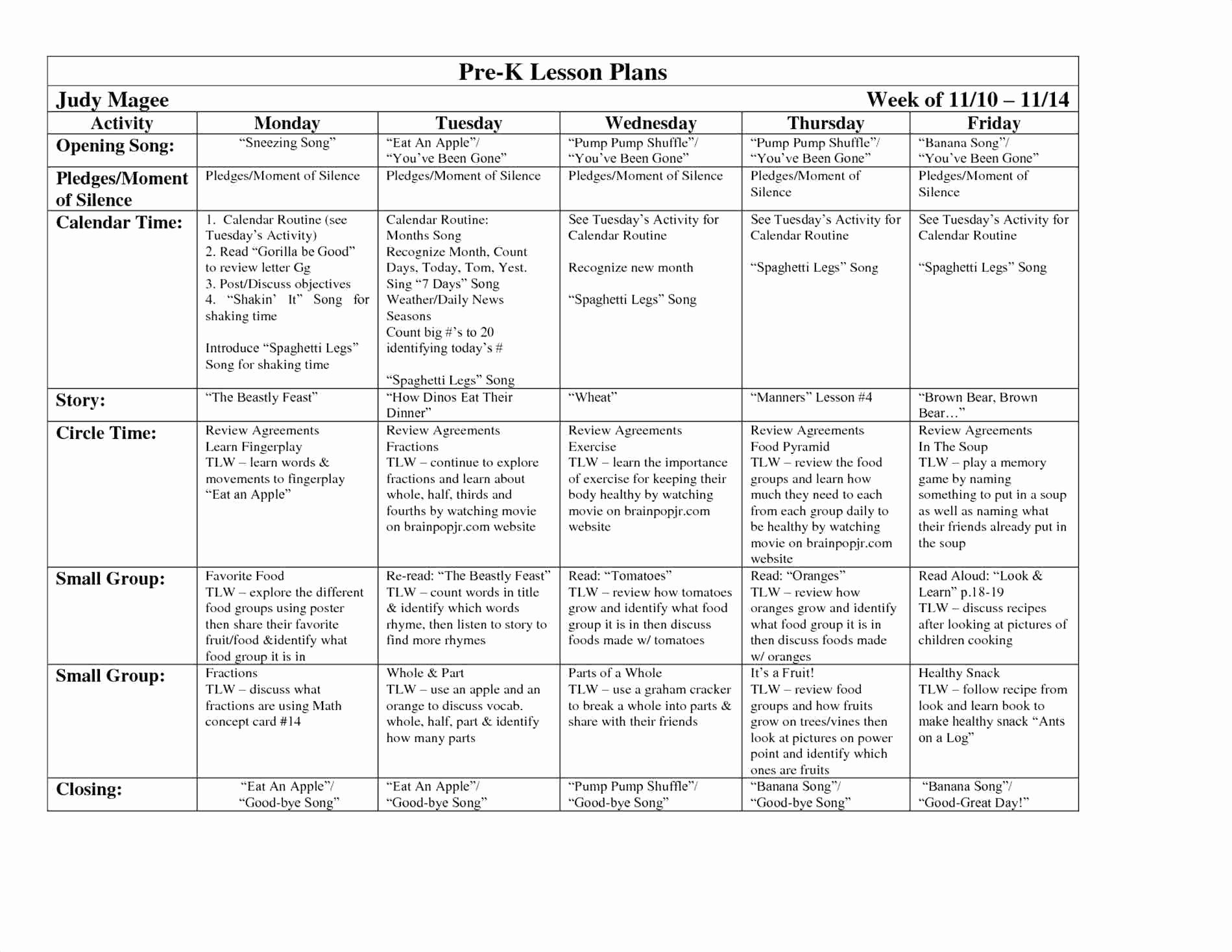 Pre K Weekly Lesson Plan Template