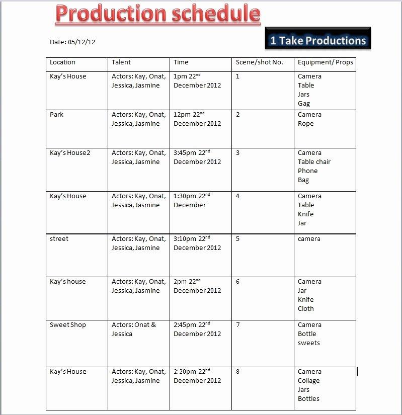 Pre Production Schedule Template Production Schedule