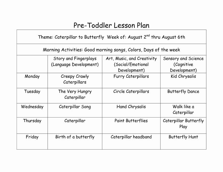 Pre toddler Lesson Plan