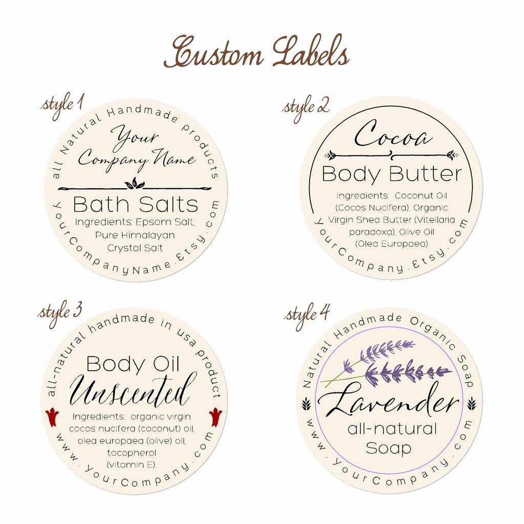 Predesigned Personalized Labels Bath and Body 60 Pk