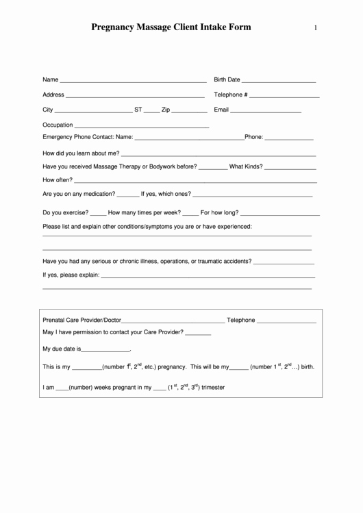 Pregnancy Massage Client Intake form Printable Pdf
