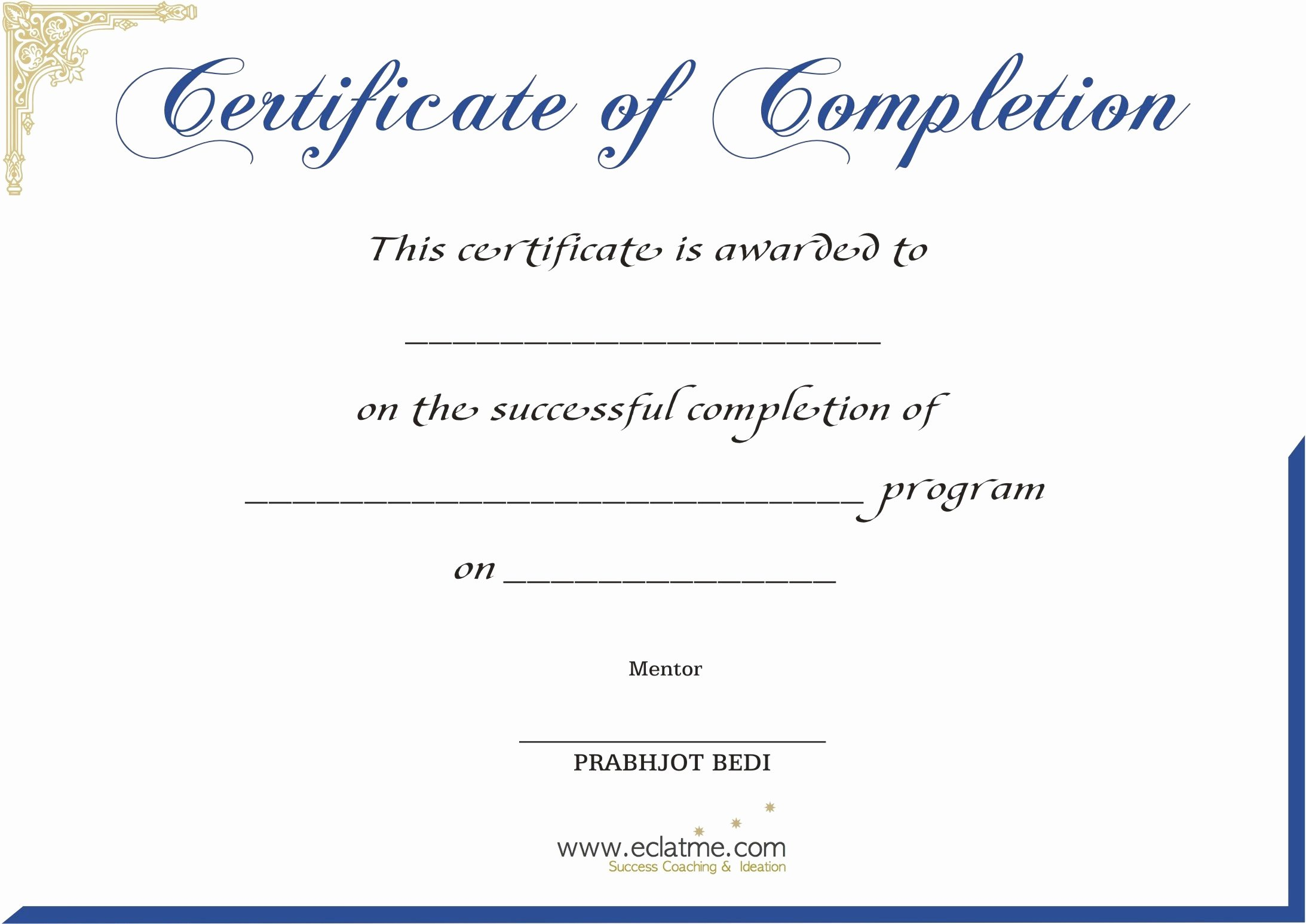 Premium Blank Certificate Pletion Flyers V M D