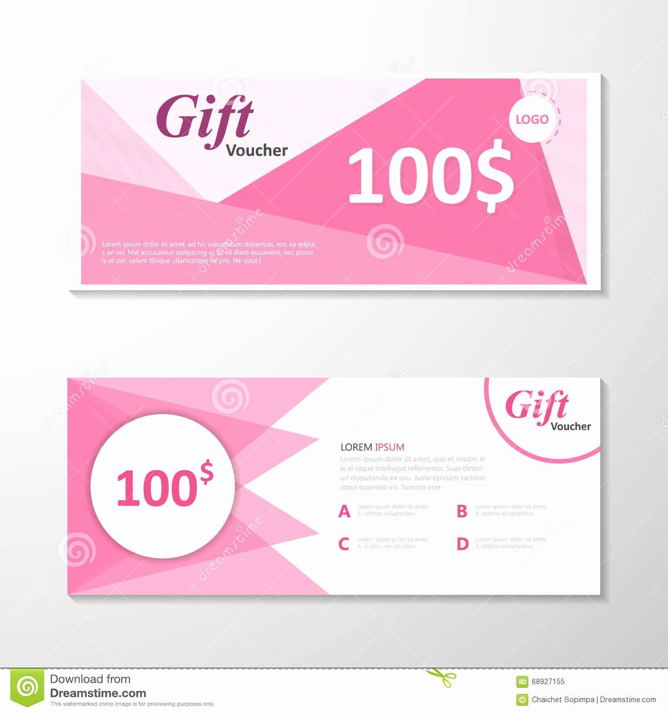 Premium Elegance Pink Gift Voucher Template Layout Design