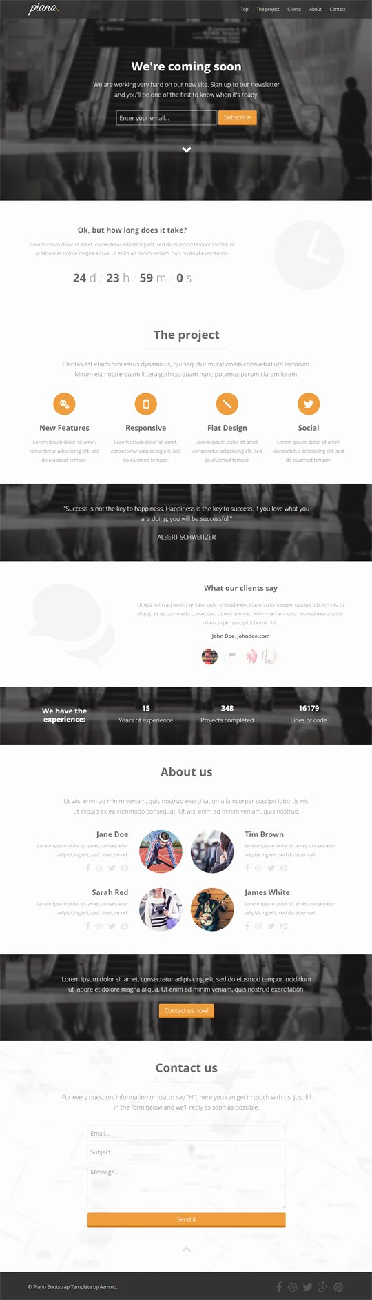 Premium Template Piano Bootstrap Ing soon Landing
