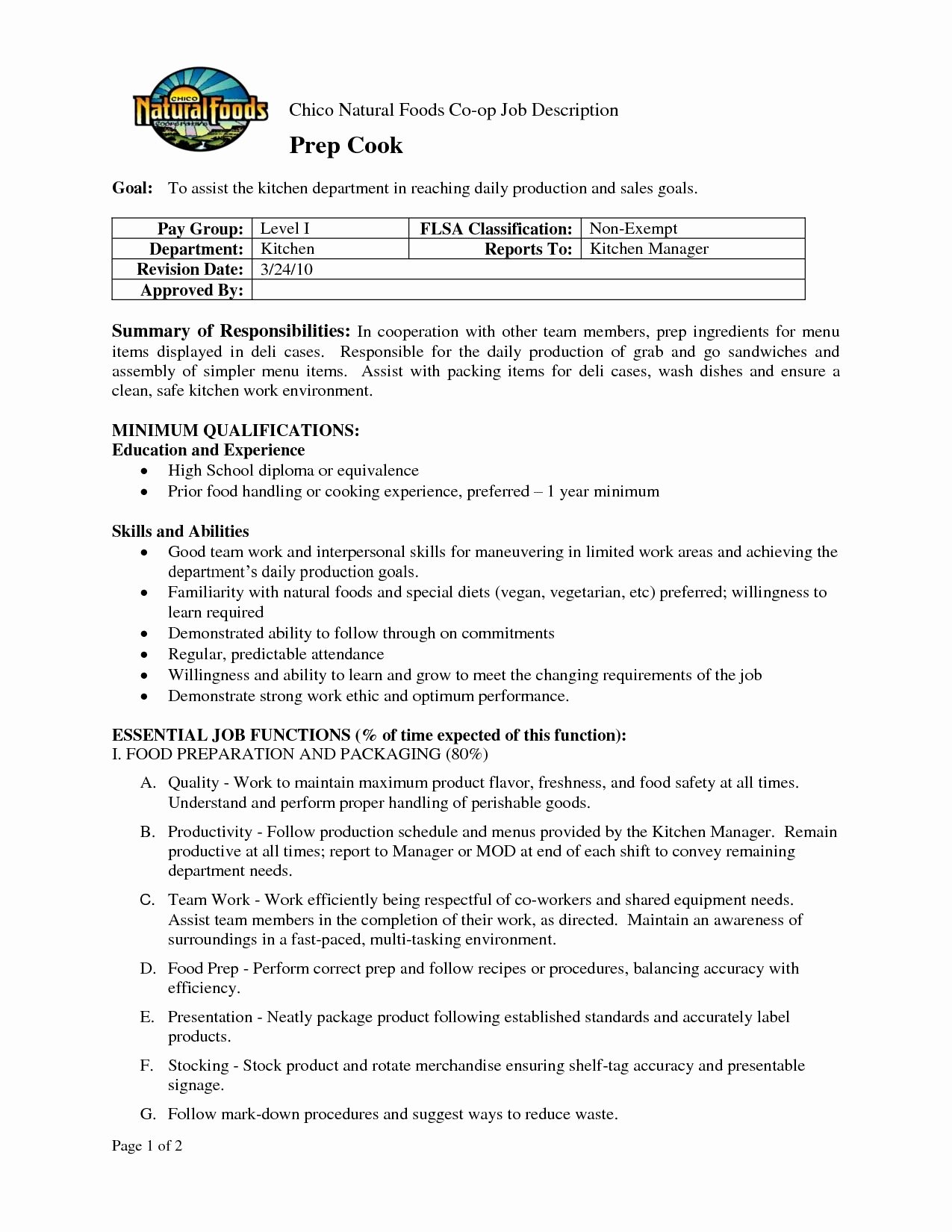 Prep Cook Job Description for Resume Sidemcicek