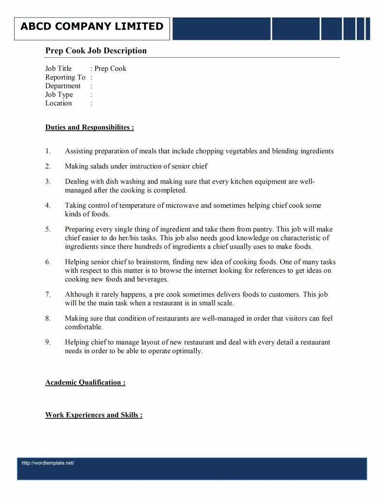 Prep Cook Job Description Template