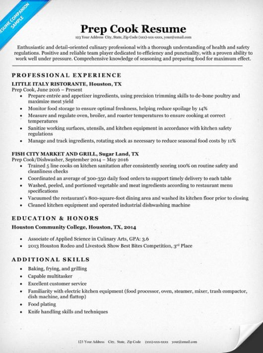 Prep Cook Resume Sample & Writing Tips