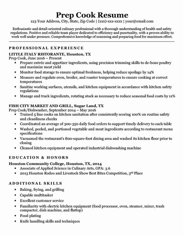 Prep Cook Resume