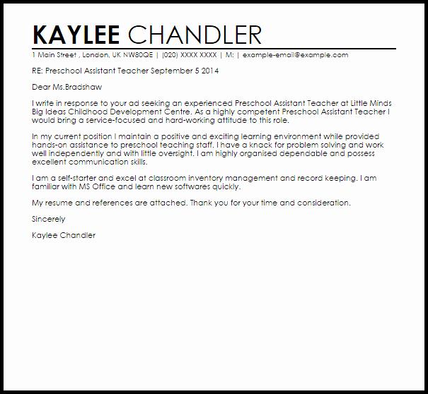 Preschool assistant Teacher Cover Letter Sample