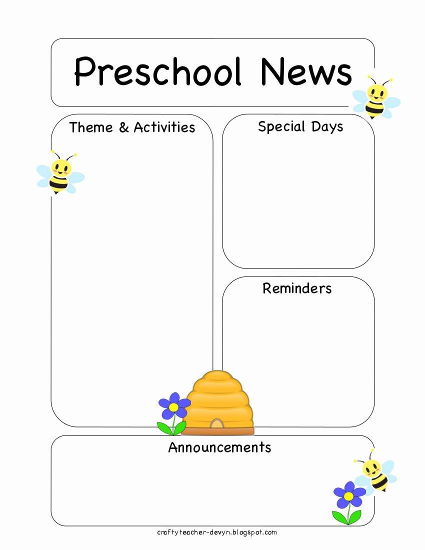 Preschool Bee Newsletter Template