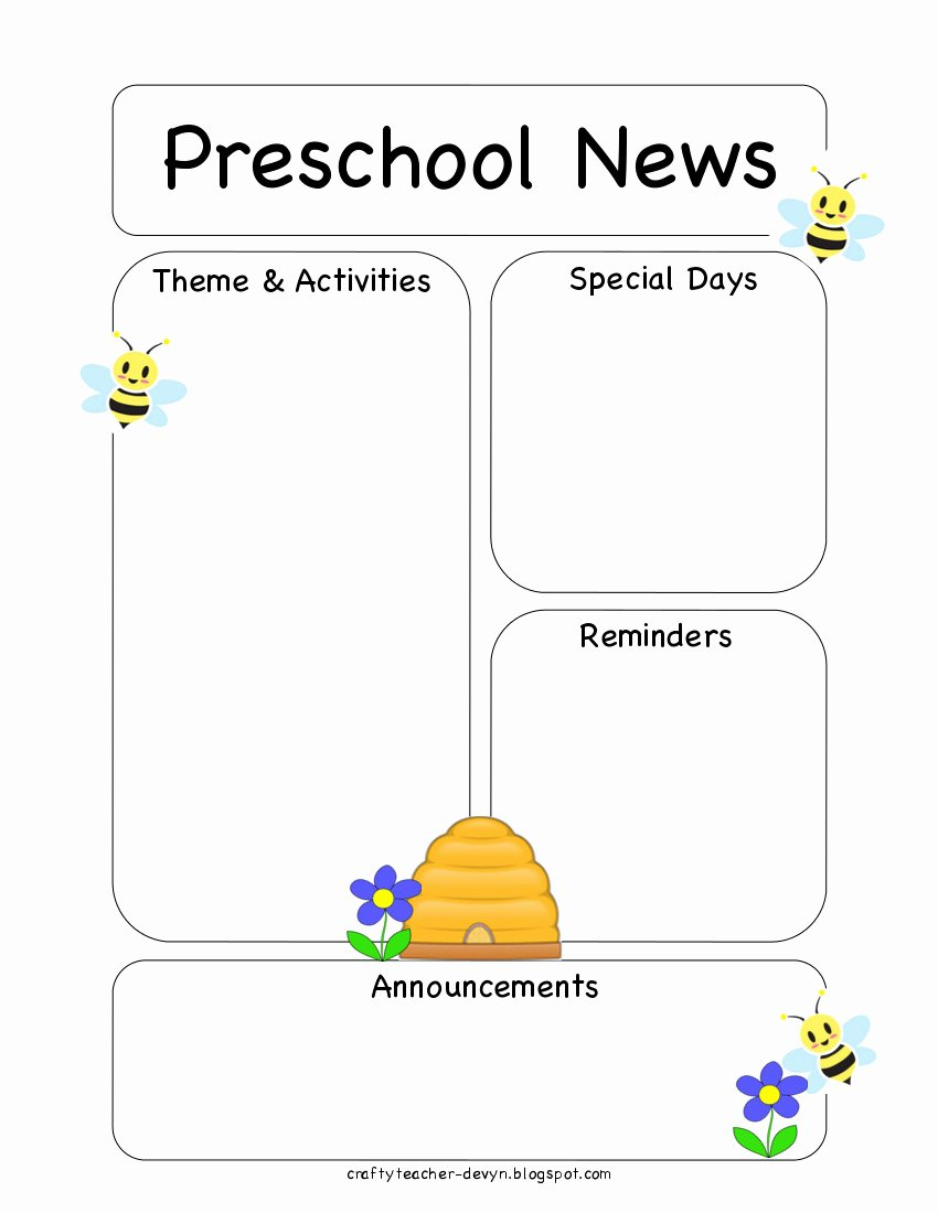 Preschool Bee Newsletter Template