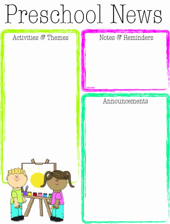 Preschool Bright Color Newsletter