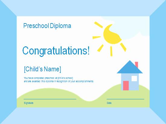 Preschool Diploma Free Certificate Templates In Academic