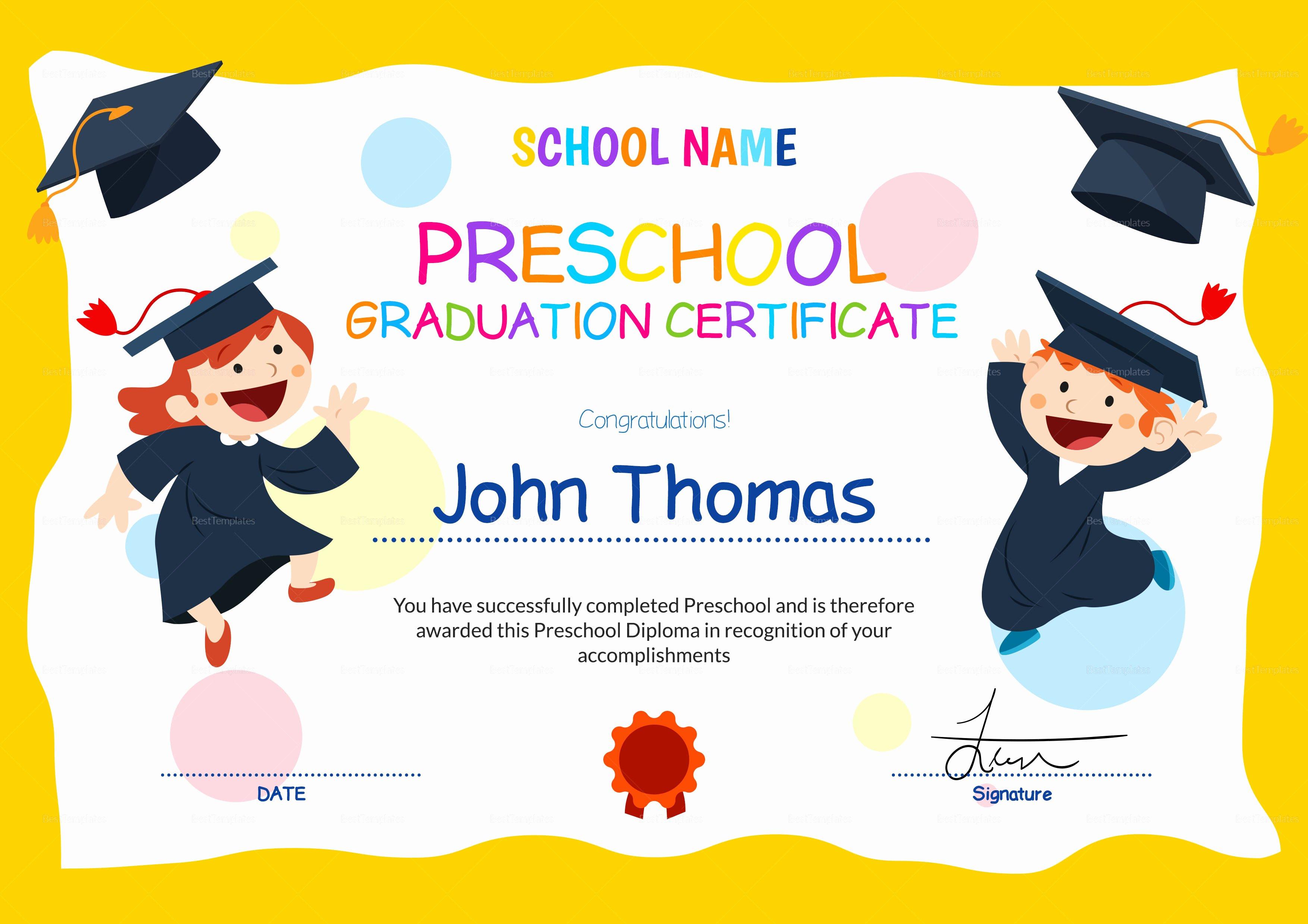 Preschool Graduation Certificate Design Template In Psd Word