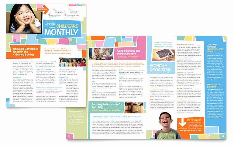 Preschool Kids Day Care Newsletter Templates ET D