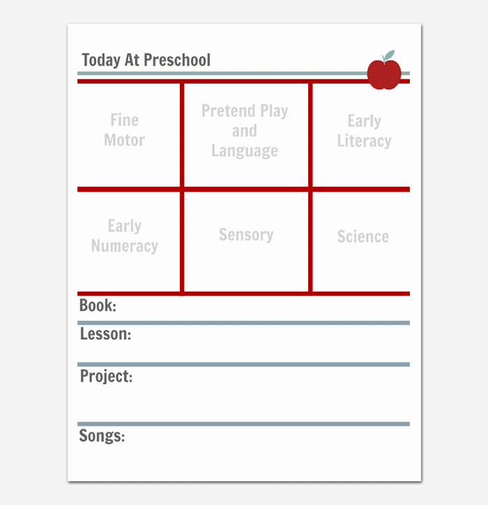 Preschool Lesson Plan Template Daily Weekly Monthly