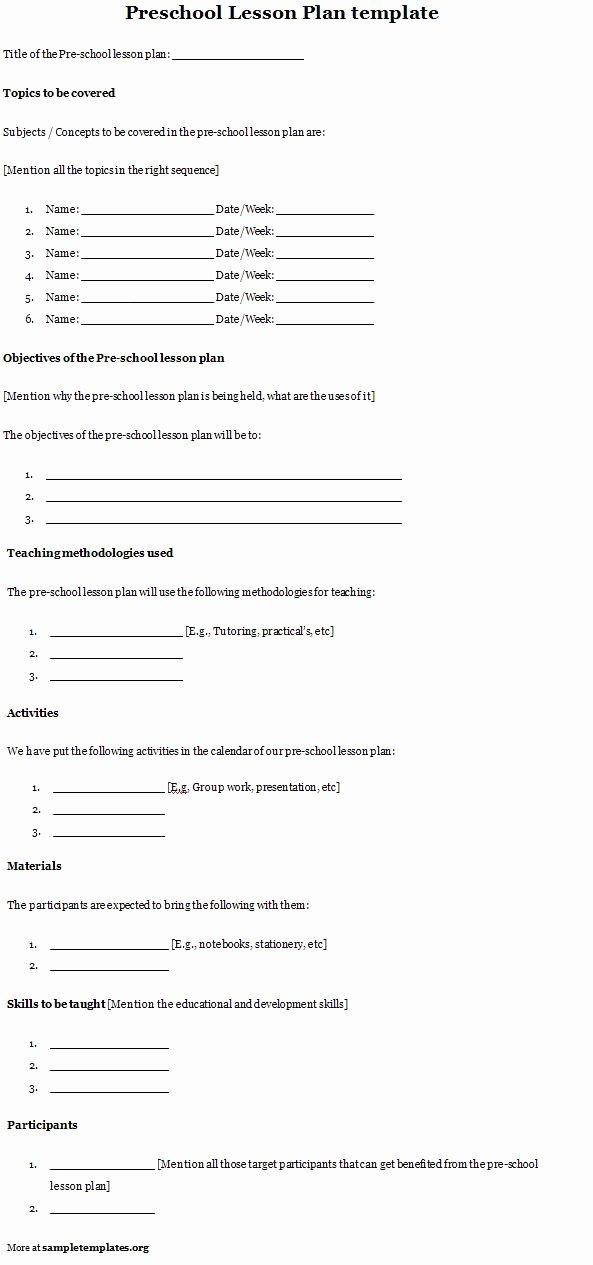Preschool Lesson Plan Template Of Preschool Lesson Plan
