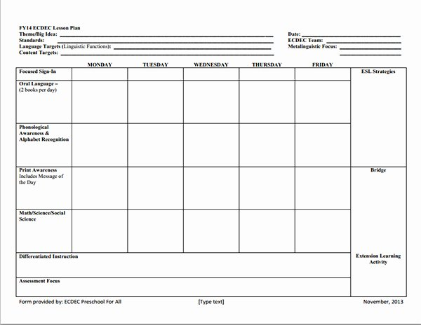 Preschool Lesson Plan Template Of Preschool Lesson Plan