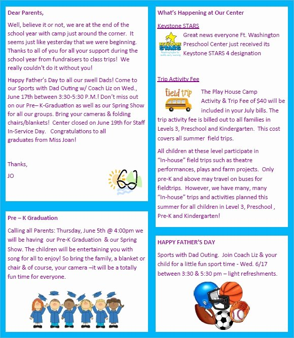 Preschool Newsletter 8 Free Download for Word Pdf