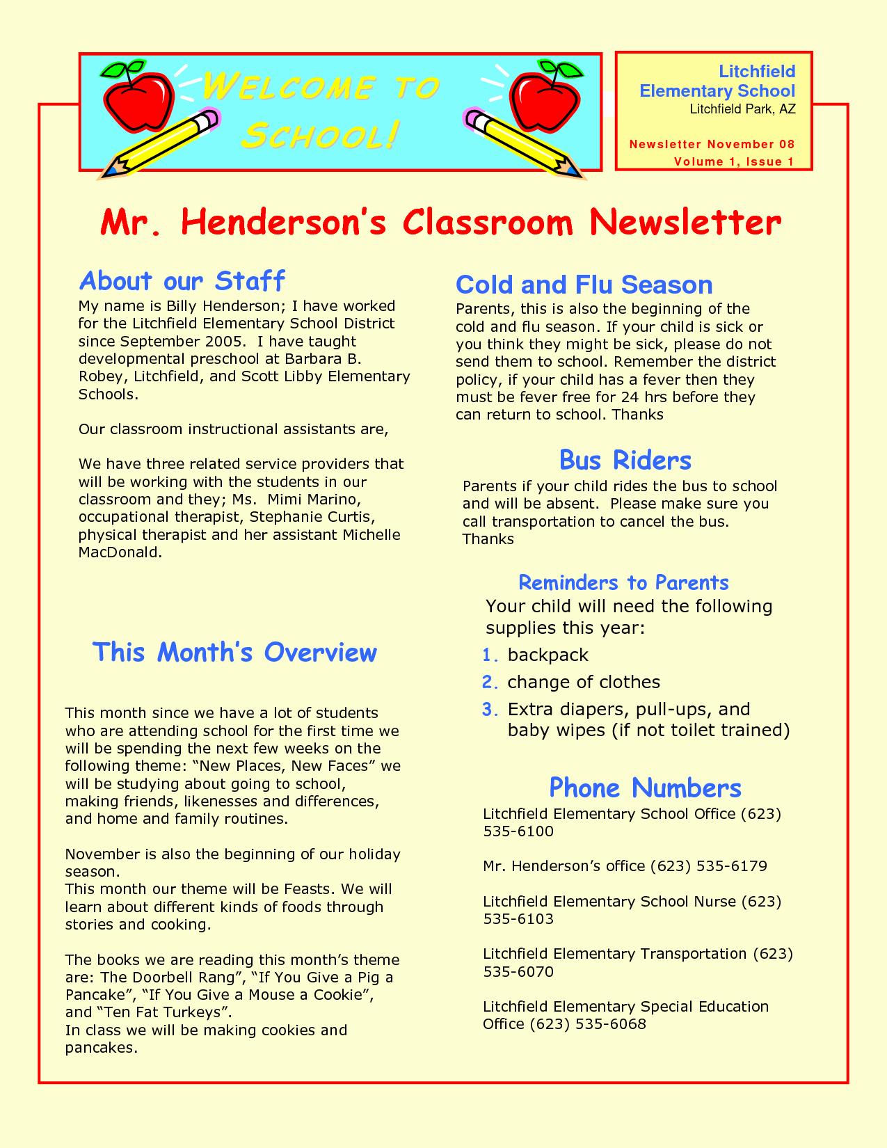 Preschool Newsletter Samples