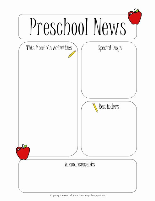 Preschool Newsletter Template