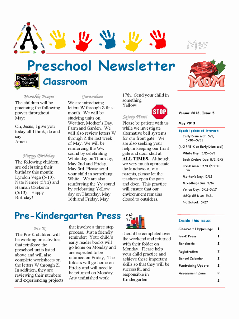 Preschool Newsletter Template 4 Free Templates In Pdf